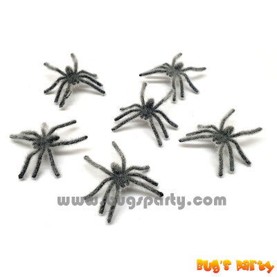 mini hairy fake spiders for Halloween
