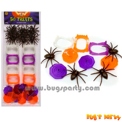 Halloween trick or treat favors, spiders, vampire teeth, spin tops