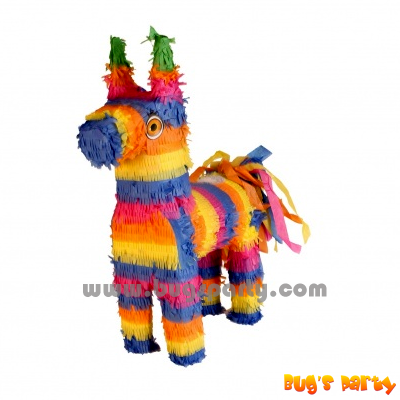 Donkey shaped pinata, with colorful stripes