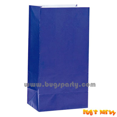 12 Royal Blue Paper Bags