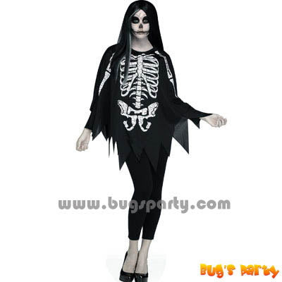 Costume Skele Poncho Asst