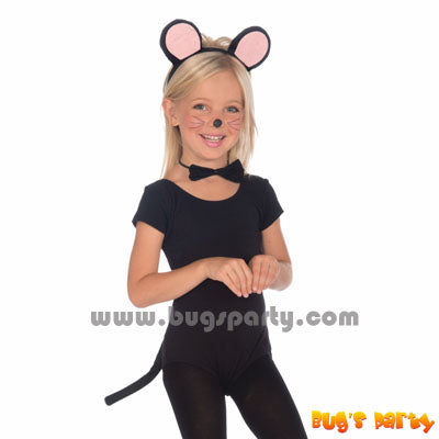 mouse kit for children, ears hairband, bow tie and tail