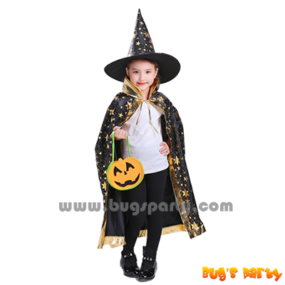 black color celestial star print wizard cape and hat