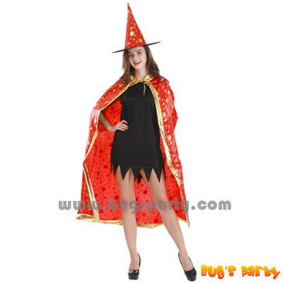 Halloween dress wizard cloak and hat