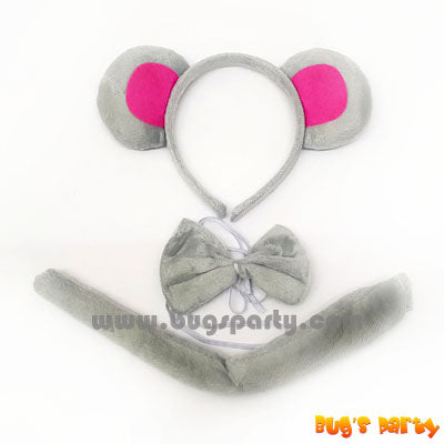 mouse costume accessories, headband, tail and bow tie