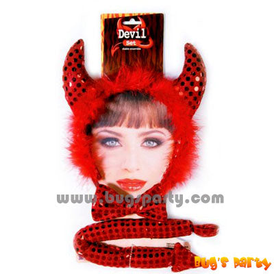 3 pieces Devil accessories, headband, bow tie, and devil tail.