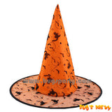 Halloween Orange witch hat with bats and Cats