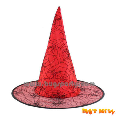 Red Halloween witch hat with spider prints