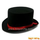 Black Satin Hat With Red Band
