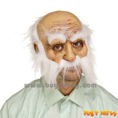 Old man mask with white hair and beard