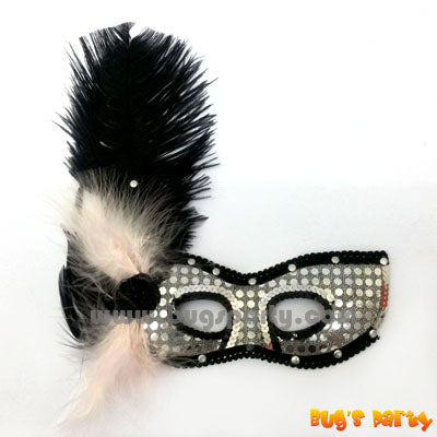 Silver sequin masquerade mask with black feather