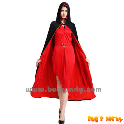 red and black reversible hooded cape