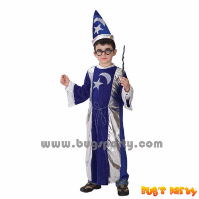 Boy blue color midnight wizard robe costume and hat