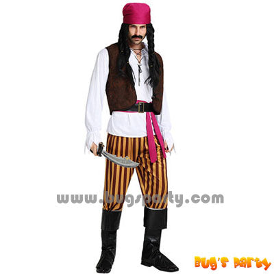 Pirate man costume with stripes pants