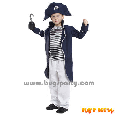 Blue jacket pirate boy costume