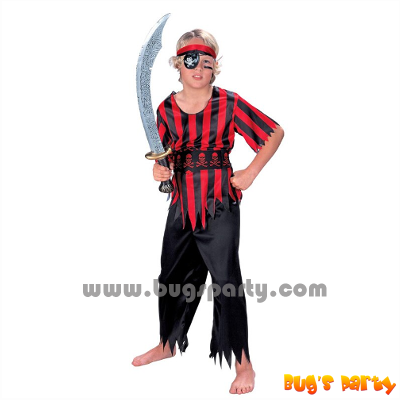 Caribbean pirate boy costume with black and red stripes