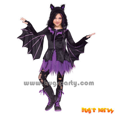 Halloween night flyer bat dress for girls