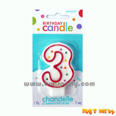 Number 3 Polka Dots Candle
