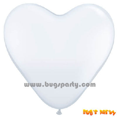 Balloon Latex White Hrt