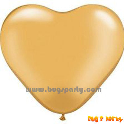 gold colour heart shaped helium balloons