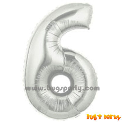 Silver 6 Shaped Number Balloon