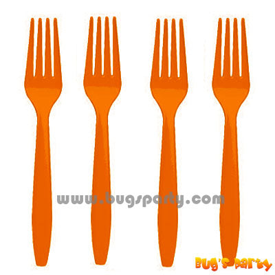 Orange color Plastic Forks