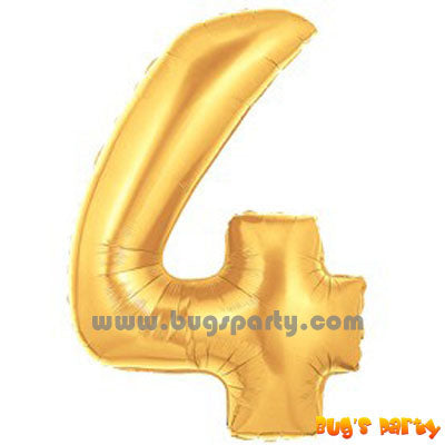 Gold 4 Shaped Number Balloon