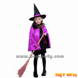 Purple witch cape and hat for kids