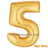 Gold 5 Shaped Number Balloon