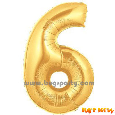 Number 6 Shaped Gold Color Balloon