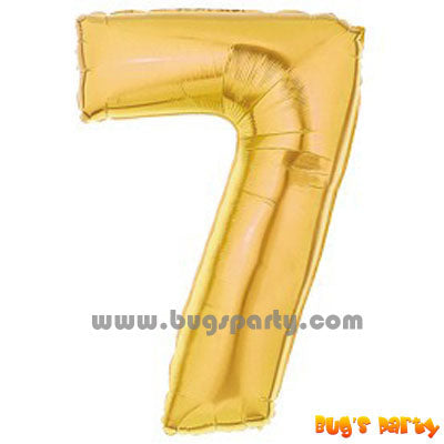 Number 7 Shaped Gold Color Balloon
