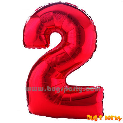 Red 2 Shaped Number Balloon