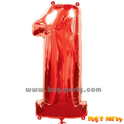 Red 1 Shaped Number Balloon