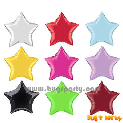 solid color star shaped foil balloon