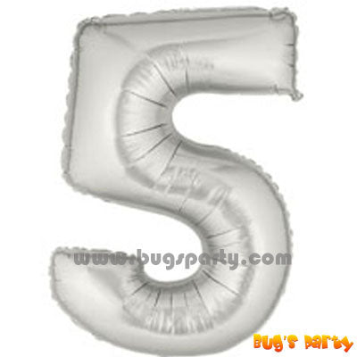 Number 5 Shaped Silver Color Balloon