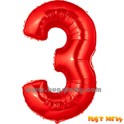 Red 3 Shaped Number Balloon