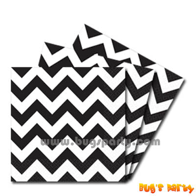 Black color chevron paper Napkins