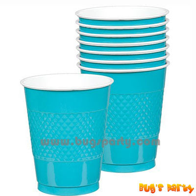 Caribbean Blue color Plastic Cups