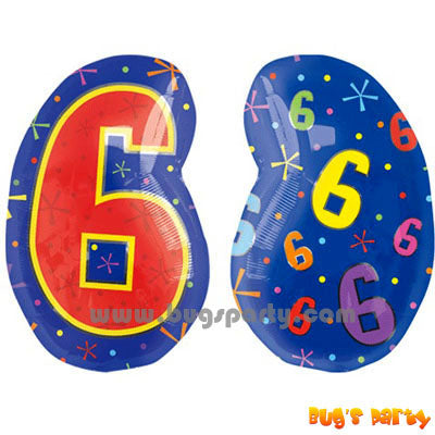 Multicolor Number 6 Balloon