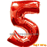 Red 5 Shaped Number Balloon