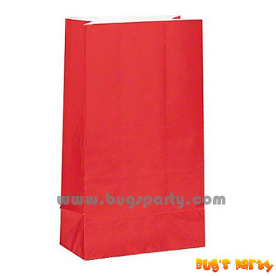 12 Red Paper Bags