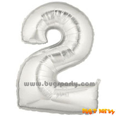 Number 2 Shaped Silver Color Balloon