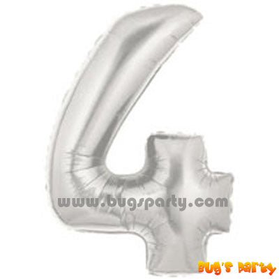 Silver 4 Shaped Number Balloon