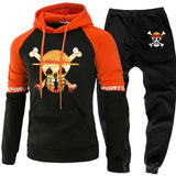 One Piece Anime Mens Sets Hoodies Pants Skull Luffy Hoody Sweatshirt - ZSHOPIT
