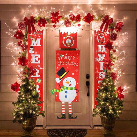 Red Merry Christmas Porch Sign Xmas Hanging for Home door Banner Ornaments New Year Navidad noel - ZSHOPIT