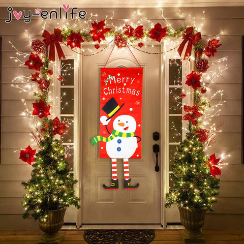Merry Christmas Decorations For Home 2020  New Year Noel Porch Sign Xmas Door Decor Hanging Cloth navidad Gifts - ZSHOPIT