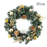 Christmas Wreath With Battery Powered LED Light String Front Door Hanging Garland Holiday Home Decorations - ZSHOPIT