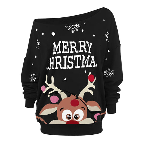 Women christmas 2020 Sweaters Christmas Straples Collar Top - ZSHOPIT