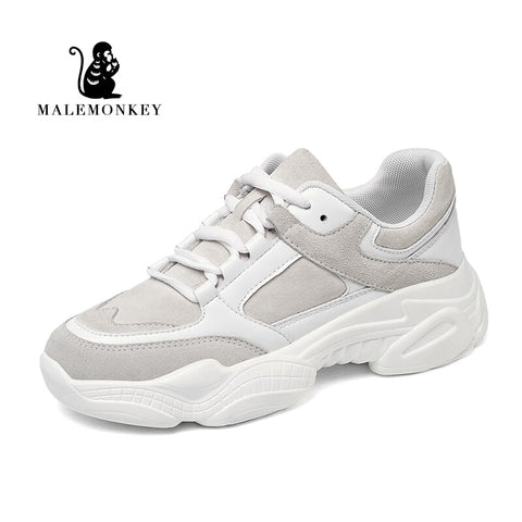 Women Sneakers Shoes White Spring Sport Thick Sole Lady Leisure Shoes Lace Up Comfortable Women Chunky Sneakers - ZSHOPIT