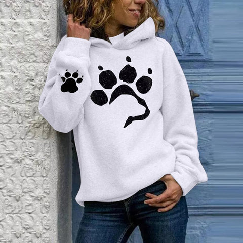 Dog paw Women's Hoodies Lightweight Long Sleeve Casual Pullover Sweatshirt Harajuku Style - ZSHOPIT